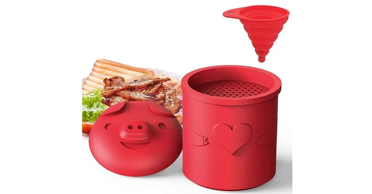 LOIVFET Bacon Grease Container with Strainer