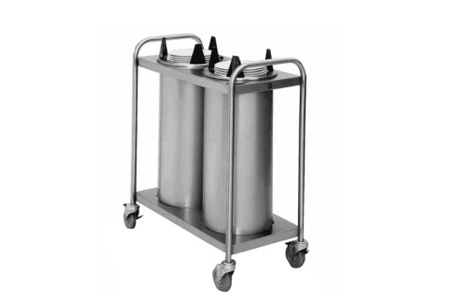 Wyott HTL2-10 Trendline Mobile Heated Two Tube Dish Dispenser