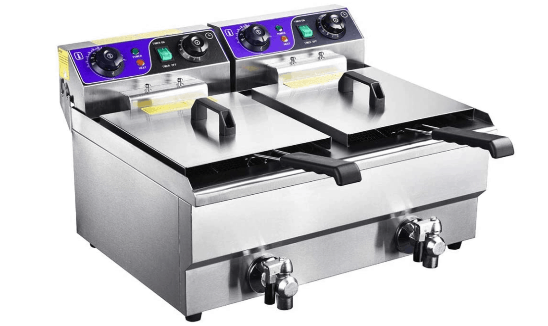 20L Electric Dual Deep Fryer with Timer and Drain Stainless Steel
