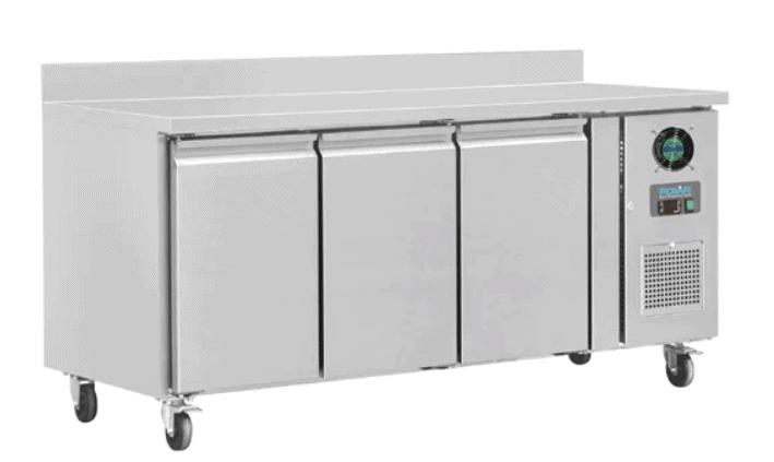 Polar U-Series Triple Door Counter Freezer with Upstand 417Ltr